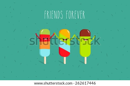 Ice cream. Vector cartoon. Friends forever. Comic characters. - stock vector