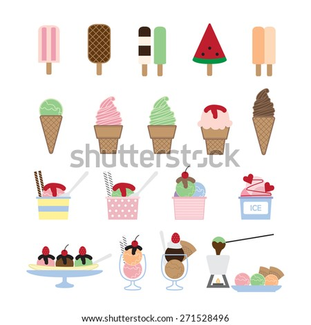 ice cream vector,dessert set - stock vector