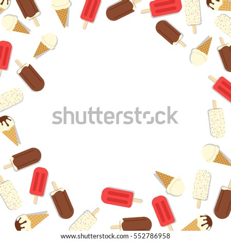 Ice Cream Vector Frame Background Modern Stock Vector 552786958 ...