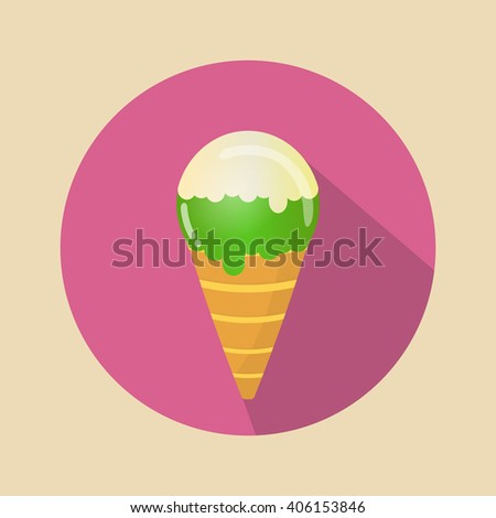 Ice cream Vector. Icon for web and mobile application. Flat design style.