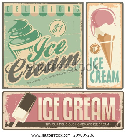 Ice cream vintage metal signs set - stock vector