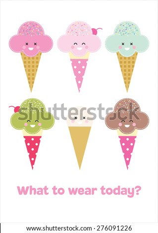 ice cream what to wear today poster vector - stock vector
