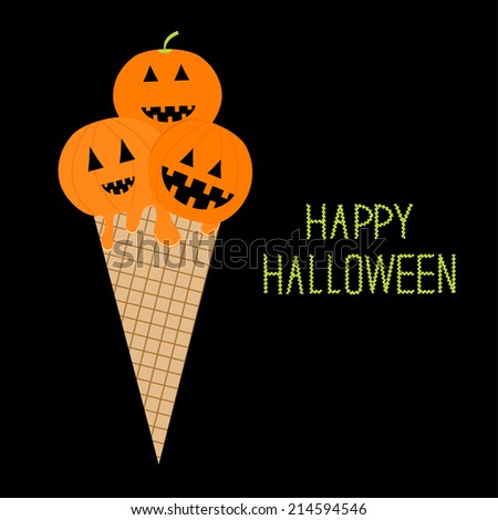 Ice cream with pumpkin Happy Halloween card Flat design style. Vector illustration - stock vector