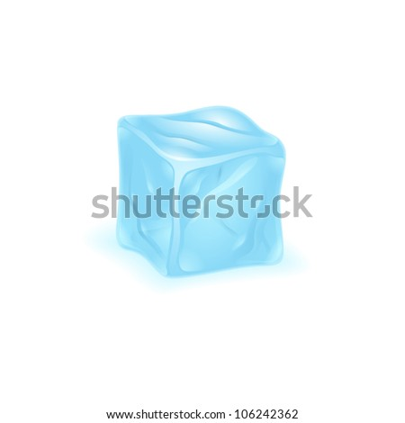 Ice cube on white background - stock vector