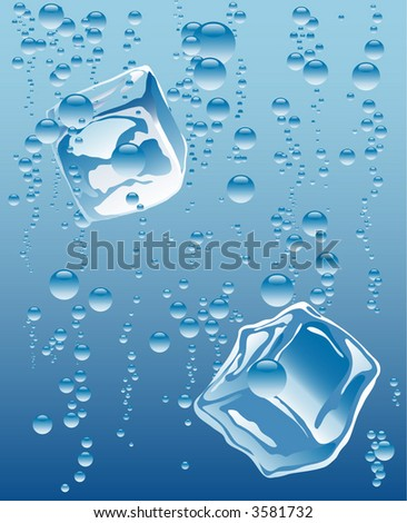 ice cubes in mineral water - stock vector