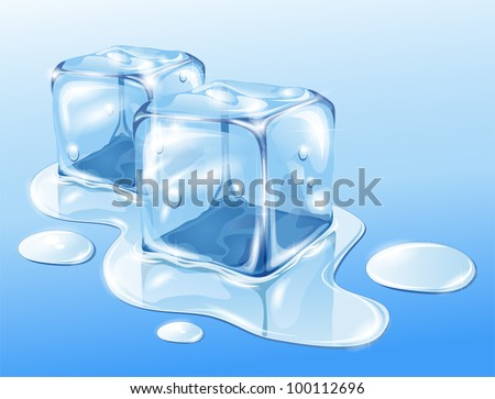 Ice cubes on water surface, illustration - stock vector