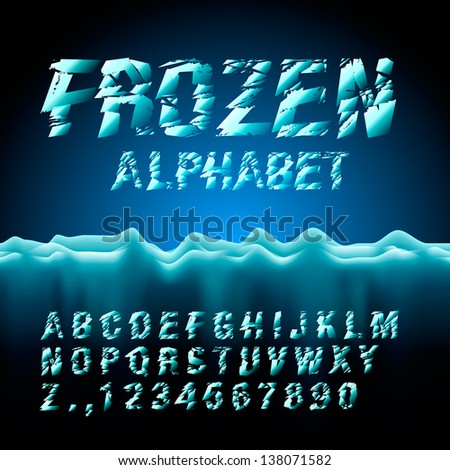 Ice font collection, vector illustration. - stock vector