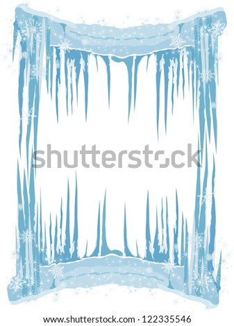 Ice Frame with icicles and snowflakes - stock vector