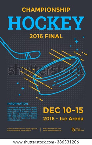 Ice hockey championship poster. Vector line illustration hockey stick and puck. - stock vector