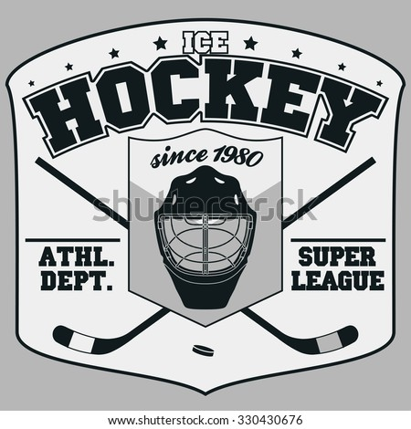 Ice Hockey Club Badge, Typography Template, Sport T-Shirt Graphics. Two crossed hockey sticks and a puck - stock vector