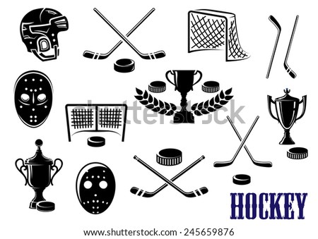 Ice hockey emblem and logo design elements with hockey pucks, masks, helmet, crossed sticks, gates and trophy cups decorated laurel wreath - stock vector
