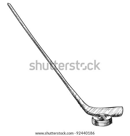 Ice hockey equipment sketch vector illustration - stock vector