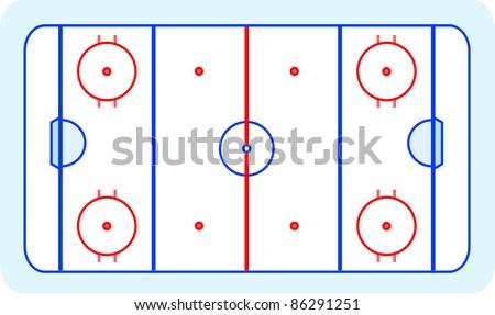 ice hockey field blue greetings card vector - stock vector