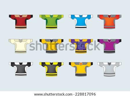 Ice hockey jerseys,set of 12 vector/set of 12 ice hockey jersey  - stock vector