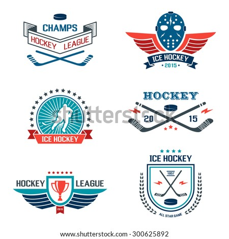 Ice hockey labels and design elements, emblems, symbols, icons, badges and logo template collection. - stock vector