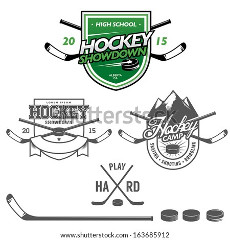 Ice hockey labels, badges and design elements - stock vector