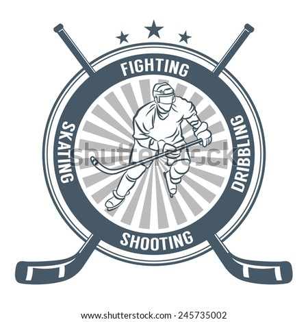 Ice hockey labes, badge and emblem design elements. Hockey player. - stock vector