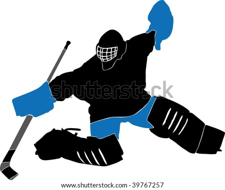 ice hockey player silhouette with racket - stock vector