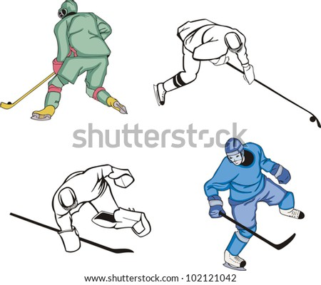 Ice Hockey Players. Vector Set