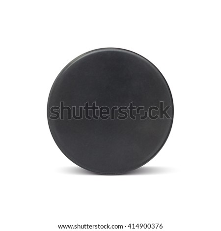 Ice hockey puck isolated on white background. Vector illustration.