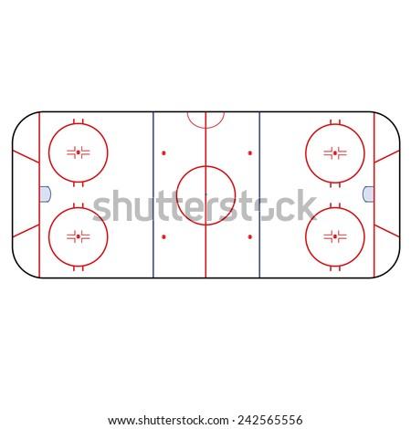 Ice Hockey Rink -  playing field hockey version NHL - stock vector