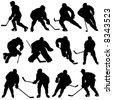 ice hockey set - stock vector
