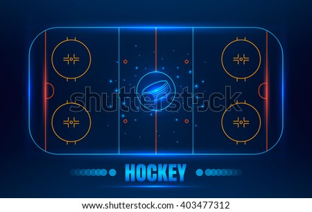 Ice Hockey stadium. Vector line illustration hockey arena with puck. Hockey background with glowing elements. - stock vector