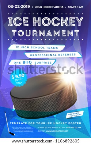 Ice Hockey Tournament Poster Template With Sample Text In Separate Layer Vector Illustration