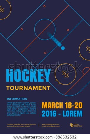 Ice hockey tournament poster. Vector line illustration hockey arena with puck. - stock vector