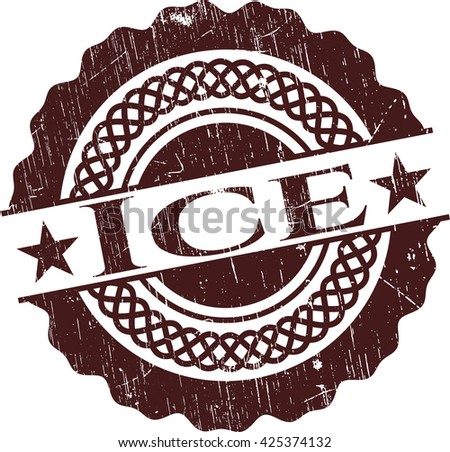 Ice rubber stamp with grunge texture - stock vector