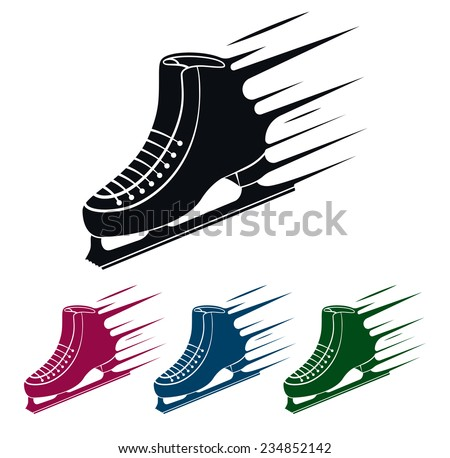 Ice Skate Icon, Speed Concept, Vector Illustration - stock vector