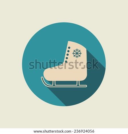 Ice skate icon with long shadow. Vector illustration, flat design, EPS 8. - stock vector