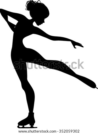 Ice Skater Silhouette - Vector Illustration