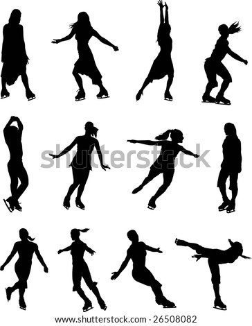 Ice skaters women silhouette