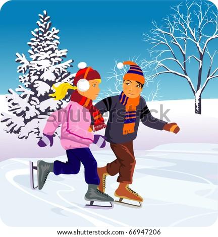 ice-skating - stock vector