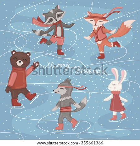 Ice skating animals. - stock vector