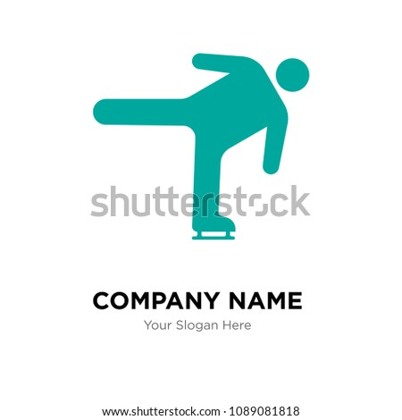ice skating move company logo design stock vector 1089081818