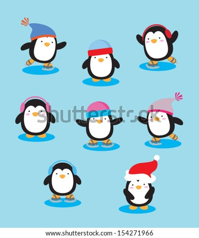 Ice Skating Penguins - stock vector
