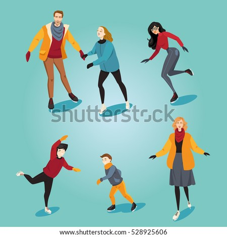 Couple ice skating clipart