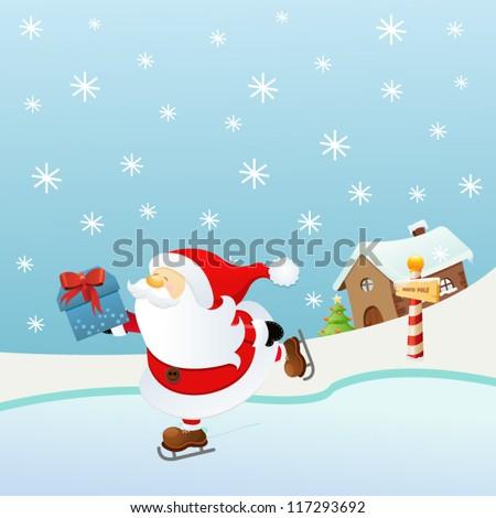 Ice Skating Santa - stock vector