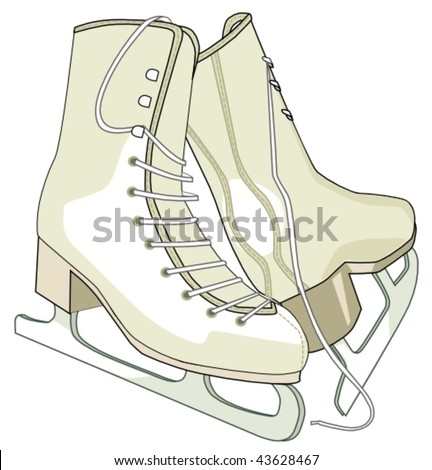 ice skating shoes - stock vector