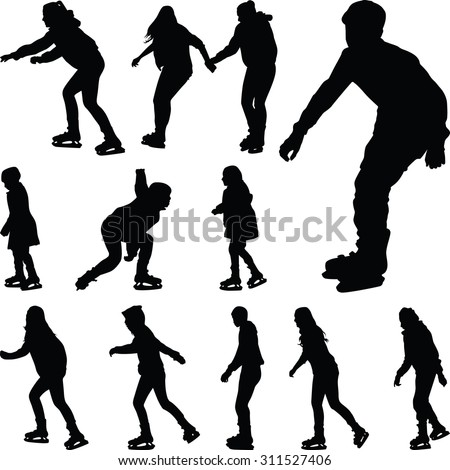 ice skating silhouette vector