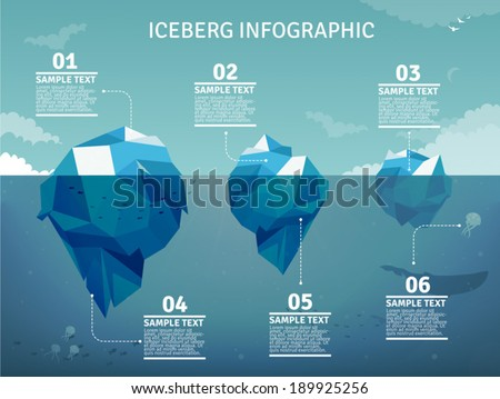 Iceberg On Water Infographic Template Vector Stock Vector ...