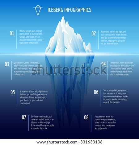 Iceberg infographics. Structure design, ice and water, sea vector illustration - stock vector