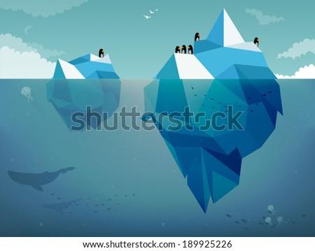 Iceberg & Penguins - stock vector