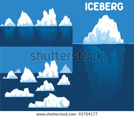 Iceberg set - stock vector