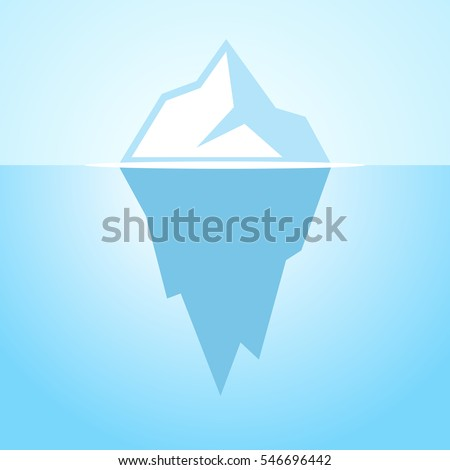Iceberg vector icon illustration on blue background. Iceberg vector poster. Iceberg vector clip art.