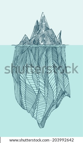 iceberg vintage engraved illustration, hand drawn, sketch - stock vector