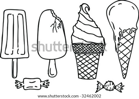 icecream sweets and candy's - stock vector
