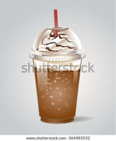 Iced coffee takeaway icon. Vector illustration. - stock vector